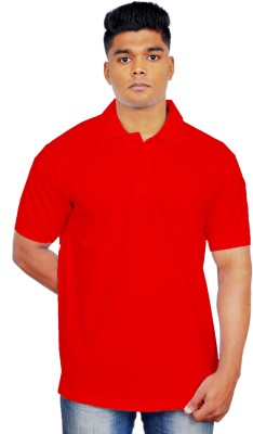 iTRENDII Solid Men's Polo Neck Red T-Shirt