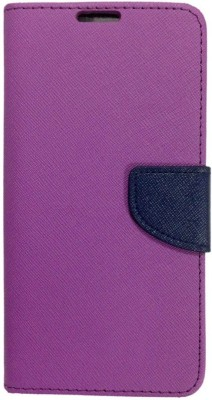 Novo Style Wallet Case Cover for Micromax Canvas Knight A350(Purple, Artificial Leather)