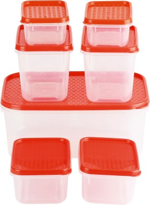 All Time Polka  - 125 L, 250 L, 400 L, 1800 ml Plastic Grocery Container(Pack of 7, Red)