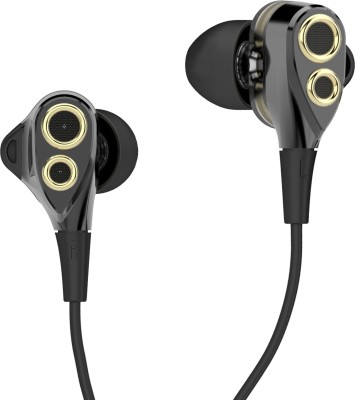 Boat Nirvanaa Duo 2.0 Dual Drivers Wired Earphones with Mic (Melody Black)