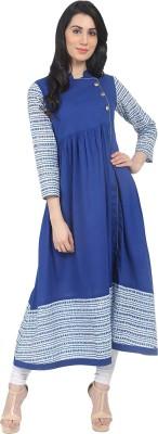 Nayo Women Striped, Printed Anarkali Kurta(Blue, White)