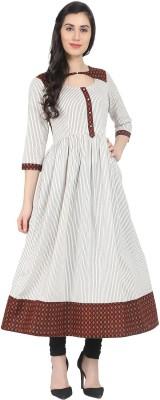 La Firangi Women Abstract, Striped Anarkali Kurta(Multicolor)