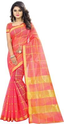 The Fashion Outlets Checkered Kota Doria Cotton Silk Saree(Multicolor)