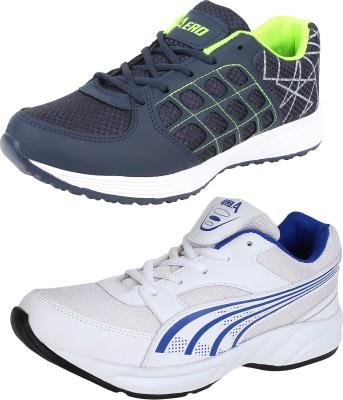 Aero 02 Pair Combo Power Play Running Shoes For Men(White, Blue, Navy, Green) Flipkart