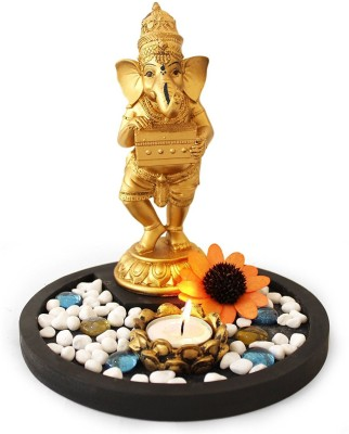 Shrih Golden Ganesha Playing Harmonium Idol With T-light Candle Set Polyresin 1 - Cup Tealight Holder Set(Gold, Pack of 1)  available at flipkart for Rs.1899