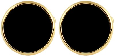 Meenaz Gold, Stainless Steel, Copper, Brass Cufflink(Gold, Black)