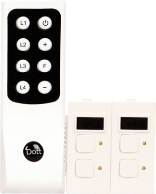 dott systems Dott Systems Modular Remote Control Switch for 3 lights and 1 fan or dimmer 6 One Way Electrical Switch(Pack of 3 Number of Switches - 4)