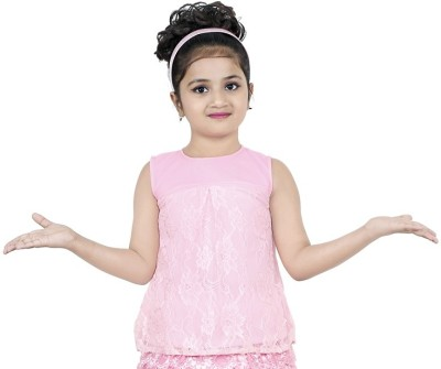nukids Baby Girls Casual Cotton Blend A-line Top(Pink, Pack of 1) at flipkart