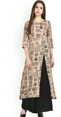AnjuShree Choice Women Printed A-line Kurta(Beige)