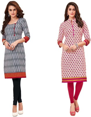 WEATHER CHANGER Casual Printed, Solid Women Kurti(Pack of 2, Grey, Red)