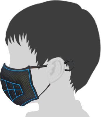 Gills Toby- Advanced Air Pollution and Dust Mask , Bike Mask, FaceMask,Anti-Pollution Mask, N99 Mask for adults and children Small Cool Black(with Blue Lines) Pack of 3 Mask and Respirator