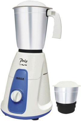 Inalsa Polo 2 550 W Mixer Grinder(White, Blue, 2 Jars)  available at flipkart for Rs.1299