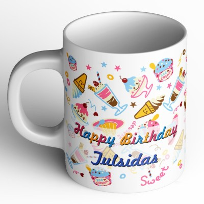 Abaronee tulsidas Happy Birthday b002 Ceramic Mug(350 ml)  available at flipkart for Rs.299