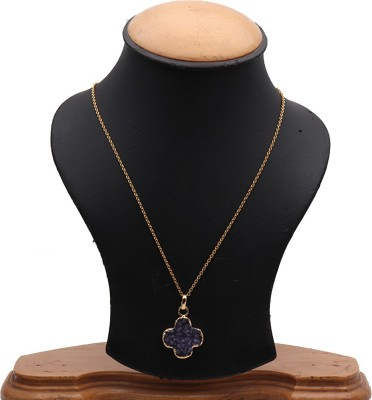 The Sparkle Story Purple Color Druzy 30x23mm Gold Plated Partywear Pendant Necklace Alloy Chain  available at flipkart for Rs.319