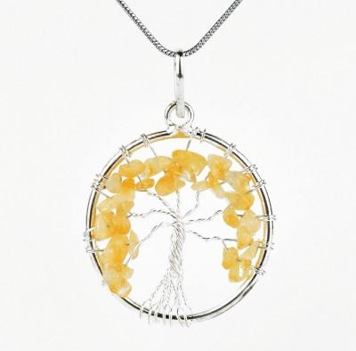 Shine Jewel Life Of tree Rhodium Sterling Silver Pendant