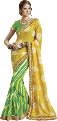 94530c3afb1db Saara Embroidered Fashion Faux Georgette Saree(Yellow