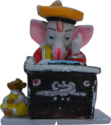 Shalibhadra Ganeshji / Munim Ganesh Writing Polyresin Ganesha Statue Idol / Table Showpiece Office / Home / Desk Showpiece / Polyresin Figurine / God Idol / Ganesh Ji Writing Geeta / Gift Showpiece  -  10 cm(Polyresin, Multicolor)  available at flipkart for Rs.399