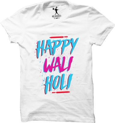 Be Awara Graphic Print Men Round Neck White T-Shirt