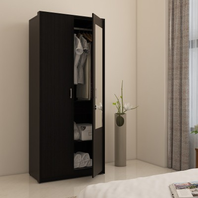 Spacewood Engineered Wood 2 Door Wardrobe(Finish Color - NATURAL WENGE, Mirror Included)