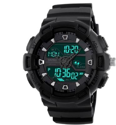 Skmei F-SKMEI1189 Skmei Analogue Digital Black Dial Black Strap Watch for Men Analog-Digital Watch  - For Men