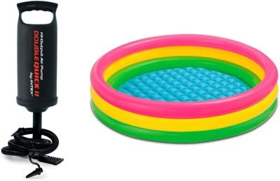 Akshat Intex Inflatable 2 Feet Baby Swimming Pool + INTEX PUMP BEST GIFT FOR HOLI Bath Toy(Multicolor)