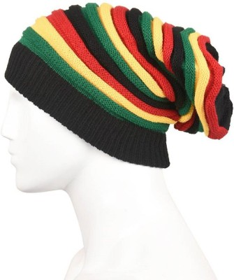Atabz Striped Woolen Mix Fancy Skull wear Cap