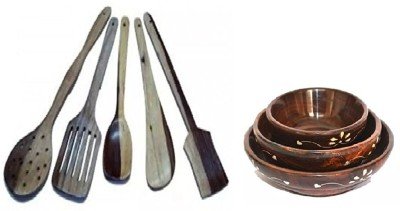Desi Karigar Bowl Set Of 3, Spoon Set of 5 | 1 Frying, 1 Serving, 1 Spatula, 1 Chapati Spoon, 1 Desert Wooden Cutlery Set(Pack of 7)  available at flipkart for Rs.499