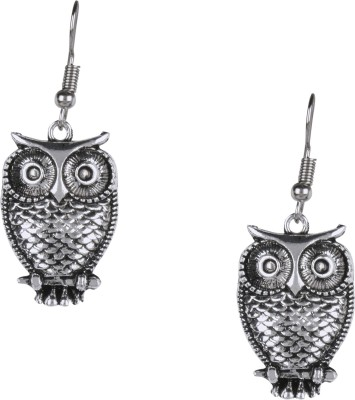 Shining Jewel 925 Antique Silver Oxidised Owl Brass Dangle Earring  available at flipkart for Rs.317