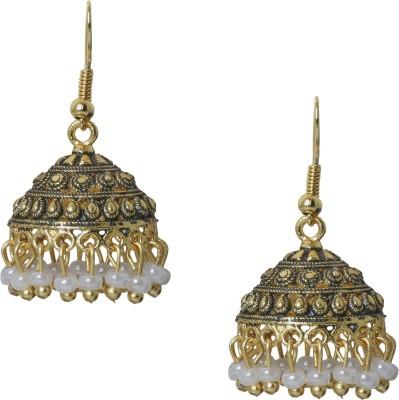 Shining Jewel 24K Antique Designer Temple Pearl Brass Jhumki Earring  available at flipkart for Rs.318