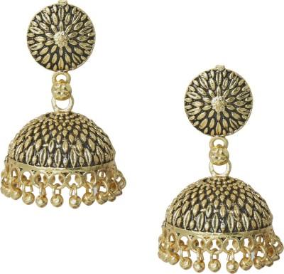 Shining Jewel 24K Antique Designer Temple Brass Jhumki Earring  available at flipkart for Rs.251