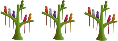 Vagmi Birdie Plastic Fruit Fork Set with Stand, 18-Pieces, Multicolour Polypropylene Fruit Fork, Salad Fork Set(Pack of 3)