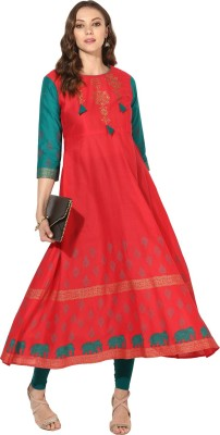 Zoeyams Casual Block Print Women Kurti(Red)