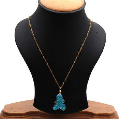 The Sparkle Story Titanium Druzy 30x24mm Gold Plated Pendant Necklace Alloy Necklace  available at flipkart for Rs.319
