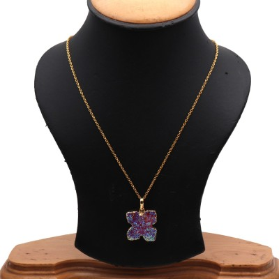 The Sparkle Story Titanium Druzy 23x20mm Gold Plated Pendant Necklace Alloy Necklace  available at flipkart for Rs.319