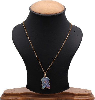 The Sparkle Story Titanium Druzy 27x18mm Gold Plated Stylish Pendant Necklace Alloy Chain  available at flipkart for Rs.319