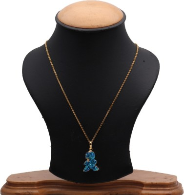 The Sparkle Story Titanium Druzy 26x20mm Gold Plated Pendant Necklace Alloy Chain  available at flipkart for Rs.319
