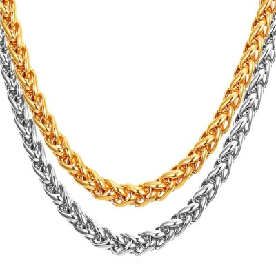 fcb244683fdad3 Meenaz Men Jewellery Valentine Silver Gold Rope Combo Necklace Chain for Boys  Men Husband Boys Boyfriend