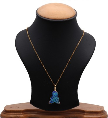 The Sparkle Story Titanium Druzy 28x22mm Gold Plated Pendant Necklace Alloy Necklace  available at flipkart for Rs.319
