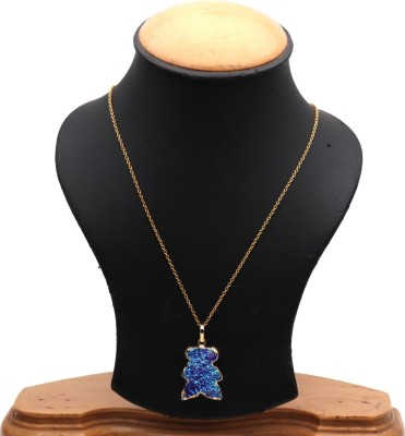 The Sparkle Story Blue Titanium Druzy 18x27mm Gold Plated Pendant Necklace Alloy Necklace  available at flipkart for Rs.319