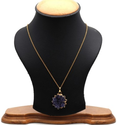 The Sparkle Story Blue Carving Druzy 32x27mm Gold Plated Stylish Pendant Necklace Alloy Chain  available at flipkart for Rs.319