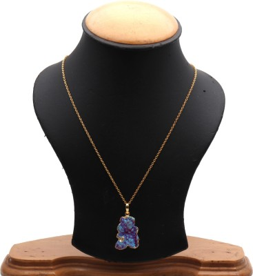 The Sparkle Story Titanium Druzy 30x21mm Gold Plated Trendy Pendant Necklace Alloy Chain  available at flipkart for Rs.319