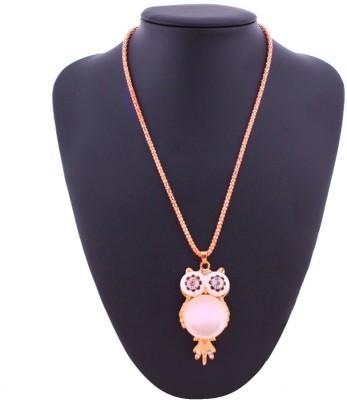 AMNOR Women Fashion Vintage Owl Big Eye Gold Sweater Long Chain Party Wear Locket Alloy, Acrylic Pendant