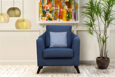 Peachtree Fabric 1 Seater  Sofa(Finish Color - Blue)