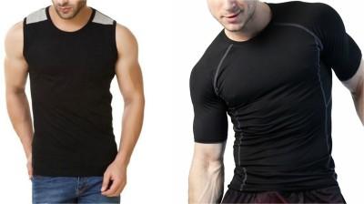ZESTEEZ Solid Men Round Neck Black T-Shirt(Pack of 2)