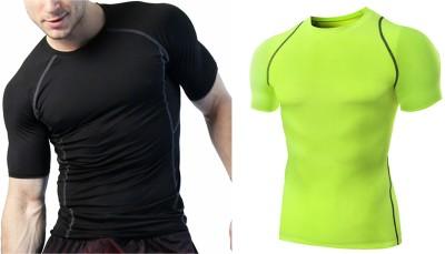 ZESTEEZ Solid Men Round Neck Light Green, Black T-Shirt(Pack of 2)