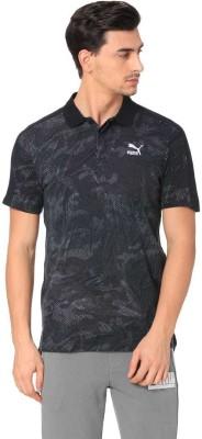 Puma Printed Men Polo Neck Black T-Shirt at flipkart