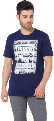 f14f83713ecc 55% OFF on Puma Printed Men Round Neck Blue T-Shirt on Flipkart ...