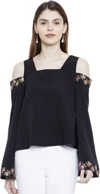 Chill Winston Casual Cold Shoulder, Full Sleeve Embroidered, Solid Women