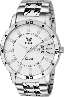 Fogg 2038-WH Day And Date Analog Watch For Men