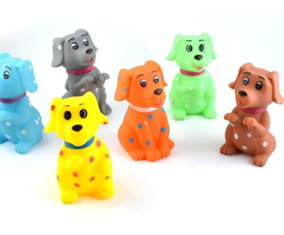 Infinxt Squeaky Dog Shaped Bathing Toy Bath Toy(Multicolor)